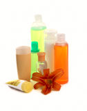 Set of apricot cosmetic containers Stock Image