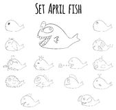 Set of april fish for fools day in France Royalty Free Stock Photography