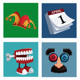 Set april fools day icons. Illustration eps 10 Royalty Free Stock Image