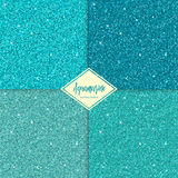 Set of aquamarine seamless texture. Set of aquamarine sparkles texture with shine, glossy confetti, glitter background. Vector illustration seamless pattern Stock Photos
