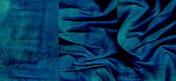 Set of aquamarine suede leather textures. For background Stock Photos