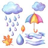 Set of aquarelle umbrella, clouds and rain. Watercolor decorative autumn elements Stock Photos