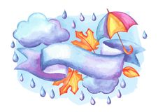 Aquarelle background with autumn elements. Set of aquarelle umbrella, clouds and rain. Watercolor decorative autumn elements Royalty Free Stock Photos