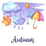 Aquarelle background with autumn elements. Set of aquarelle umbrella, clouds and rain. Watercolor decorative autumn elements Stock Image