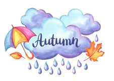 Aquarelle background with autumn elements. Set of aquarelle umbrella, clouds and rain. Watercolor decorative autumn elements Stock Photos