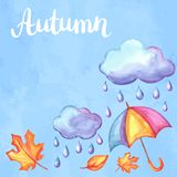 Aquarelle background with autumn elements. Set of aquarelle umbrella, clouds and rain. Watercolor decorative autumn elements Royalty Free Stock Photography