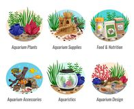 Aquarium Compositions Set. Set of aquarium compositions with colorful plants, fishes, food, shells and caves, design elements  vector illustration Stock Images