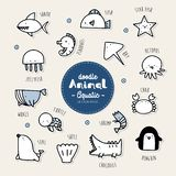 Set of aquatic animal icon. Set of aquatic , animal icon hand draw doodle stock illustration