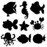Set of aquatic animals in black Royalty Free Stock Images