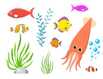 Set aquatic funny sea animals underwater creatures cartoon characters shell aquarium sealife vector illustration. Set aquatic funny sea animals underwater royalty free illustration