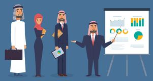 Set of arab business men and woman characters Royalty Free Stock Image