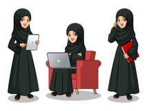 Set of Arab businesswoman in black dress working on gadgets. Set of Arab businesswoman in black dress cartoon character design working on gadgets, tablet, laptop stock illustration