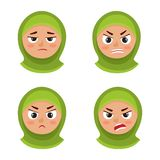 Set of arab girl with hijab angry face expression isolated on white. Little arab girl with hijab angry face expression, set of cartoon vector illustrations stock illustration
