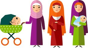 Set of arab pregnant, mother with newborn in stroller. Royalty Free Stock Photo