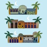 Set of arabian houses. Background with decorative ornamental arabian houses vector illustration