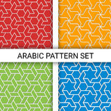 Set of arabic backgrounds. Based on islamic ethnic ornaments. Set of four geometric colorful backgrounds with outline extrude effect. Based on islamic ethnic Royalty Free Stock Photos