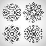 Set of arabic circle ornaments,  black on white, in  Royalty Free Stock Photos