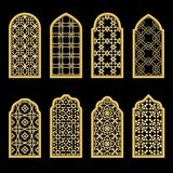 Traditional gold arabic window Stock Photography