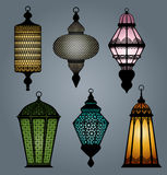 Set of arabic lantern part 1 stock illustration