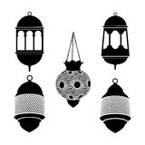 Set of arabic lanterns. Black silhouettes of ramadan lamps. Isolated stock s. Royalty Free Stock Photo
