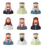 Set Arabic Men Flat Icons Stock Photo