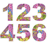 Set 6 arabic numerals, decorated with vintage pattern. Isolated on white, vector Royalty Free Stock Photos