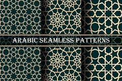 Set of 3 arabic patterns background. Geometric seamless muslim ornament backdrop. yellow on dark green color palette. Vector illustration of islamic texture stock illustration