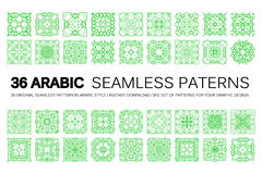 Set of 36 Arabic patterns Stock Photos