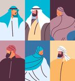 set arabic people avatars collection male female arab cartoon characters in traditional clothes portrait