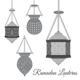Set of arabic Ramadan lanterns in black color. Old East Ramadan Lanterns for creative greeting cards. Stock Image