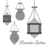 Set of arabic Ramadan lanterns in black color. Old East Ramadan Lanterns for creative greeting cards. Stock Image