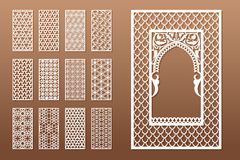 A set of Arabic window templates and 12 privacy panels for laser cutting. Design in oriental traditional style. Through. Cutting of paper, vinyl, plywood, wood vector illustration