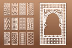 A set of Arabic window templates and 12 privacy panels for laser cutting. Design in oriental traditional style. Through. Cutting of paper, vinyl, plywood, wood royalty free illustration