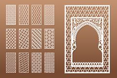A set of Arabic window templates and 12 privacy panels for laser cutting. Design in oriental traditional style. Through. Cutting of paper, vinyl, plywood, wood stock illustration