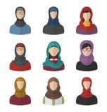Set Arabic Women Flat Icons Stock Image