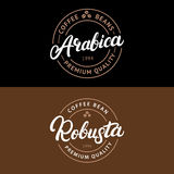 Set of Arabica and Robusta coffee hand written lettering logo, label, badge, emblem. Royalty Free Stock Photo