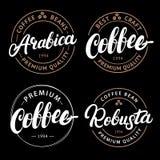 Set of Arabica, Robusta, Coffee hand written lettering logo, label, badge, emblem. Royalty Free Stock Photos