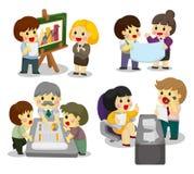 set arbetare för tecknad filmsymbolskontor vektor illustrationer