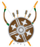 Set archer. Bow, arrows and a shield. Vector illustration Stock Photography