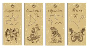 Set with Archer, Capricorn, Aquarius and Pisces Zodiac symbols banners on texture Stock Image