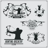 Set of archery sports emblems, labels and design elements. Vector illustration Stock Image