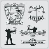 Set of archery sports emblems, labels and design elements. Vector illustration Royalty Free Stock Photo