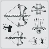 Set of archery sports emblems, labels and design elements. Vector illustration Stock Photo