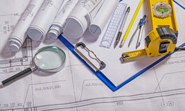 Set of architect tools on blueprint Royalty Free Stock Photo