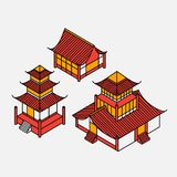A set of architectural elements in Oriental style. Outline Isometric Pagoda house. Chinese and japanese landmark. Stock Images