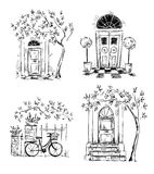 Set of architecture details drawings. Doors. Royalty Free Stock Image