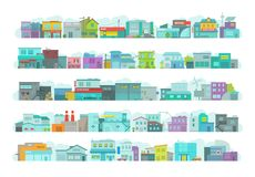 Set of architecture town buildings. City long street. Flat stock vector graphics. A lot of various details. Set of architecture buildings. Day city long street vector illustration