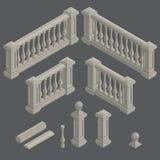 Set architektoniczna element balustrada, wektor royalty ilustracja