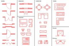 Set Architektoniczni symbole Zdjęcia Royalty Free