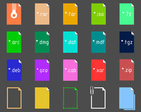 Set of Archive Extension icons Stock Image